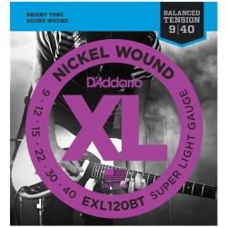 Струни 9/40 : DAddario EXL120BT